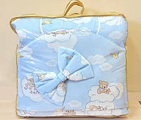 Постельный комплект в детскую кроватку 8-ми предметный, №55,1 мишка на облаках голубой