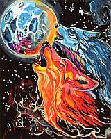 """Картина раскраска по номерам """"Космические волки"""" набор для рисования"""