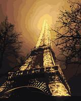 """Картина раскраска по номерам """"Ночной вид на Эйфелеву башню"""" набор для рисования"""