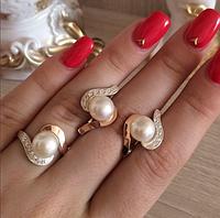 Серебряные серьги и кольцо с золотыми напайками., фото 1