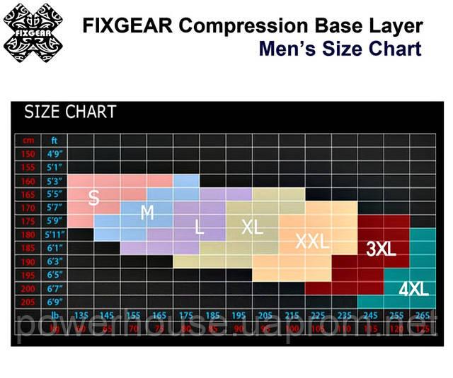 Таблица подбора размера рашгарда Fixgear фиксгер