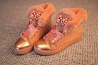 Женские ботинки зима Италия замша Chanel pink