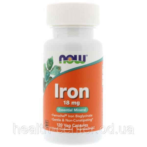 Железо хелат 18 мг 120 капс лечение железодефицитной анемии при онкологии  Now Foods USA