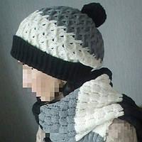 Вязаный комплект шапка+длинный шарф.Шерсть.Турция.