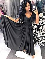 Платье нарядное Спинка и декольте - V-образный вырез Пояс тканевый Ткань: шёлк Армани много цветов дпог№187-25
