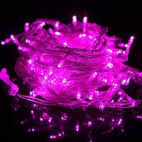 Гирлянда 100 LED на прозрачном проводе цвет розовый