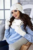 Женский вязаный комплект шапка с бубоном снуд и перчатки Афина в разных цветах