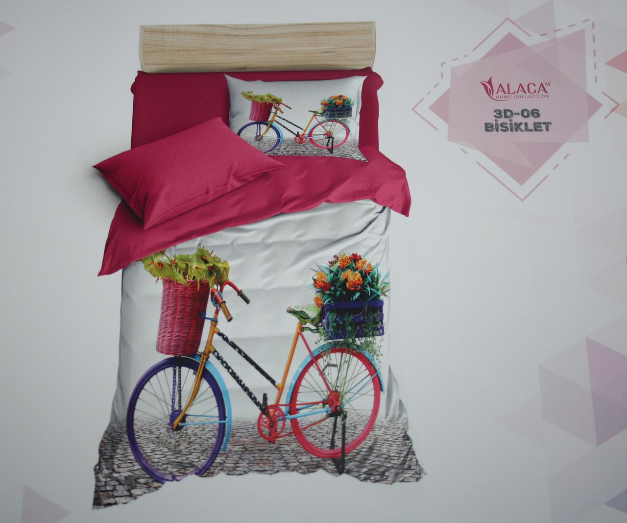 Постельное белье полуторное ALACA 3D Bisiklet
