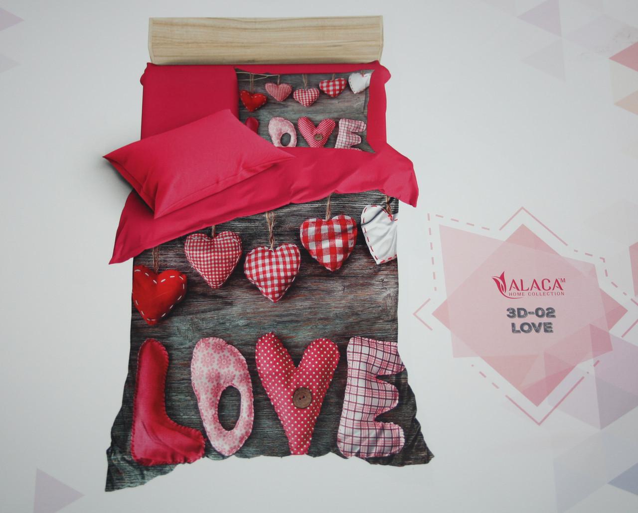 Постельное белье полуторное ALACA 3D Love