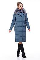 Зимнее пальто с натуральным мехом песца