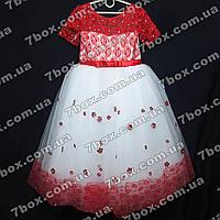 Детское нарядное платье бальное Миледи (красное+белый) Возраст 7-9 лет. , фото 1