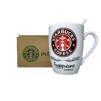 Чашка керамическая кружка Starbucks набор с ложкой R82530 Brown