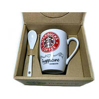Чашка керамическая кружка Starbucks набор с ложкой R82530 Red