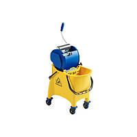 Тележка для уборки на колесах с перегородкой и роликовым отжимом