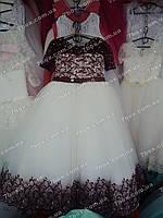 Детское нарядное платье бальное Миледи (бордо+белый) Возраст 7-9 лет.
