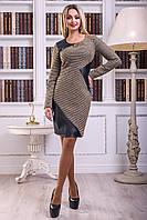Комфортное Платье на Осень с Оригинальными Кожаными Вставками Коричневое M-2XL