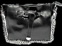 Женская сумочка с пряжкой из кожи черного цвета на плечо DJG-355263