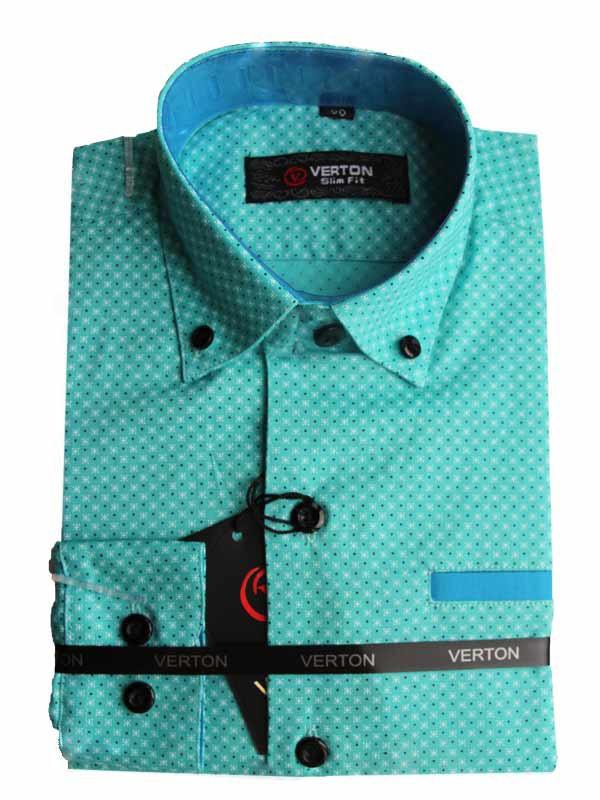 Рубашка для мальчика  Verton приталенная  c длинным рукавом трансформер ментоловая