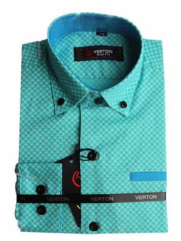 Рубашка для мальчика  Verton приталенная  c длинным рукавом трансформер ментоловая, фото 2