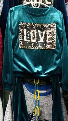 Модный велюровый костюм на девочку с паетками