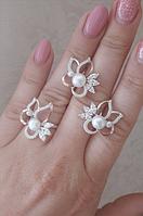Серебряные серьги и кольцо с золотыми напайками, фото 1