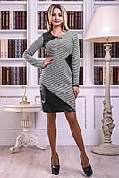 Комфортное Платье на Осень с Оригинальными Кожаными Вставками Черное M-2XL