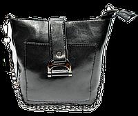 Интересная женская сумочка из кожи черного цвета на плечо MMG-632226