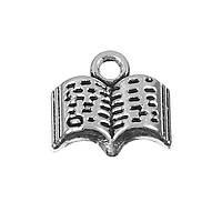 """Подвеска """" Книга """", Раскрытая книга, Цинковый сплав (Без кадмия), Античное серебро, 12 мм x 11 мм"""