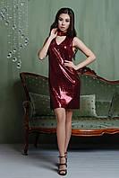 Платье с пайетками цвета марсала