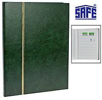 Кляссер альбом для марок Safe - 16 страниц А4 - белые страницы - зеленая обложка, фото 1