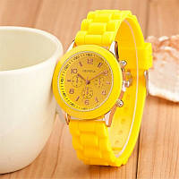 Силиконовые наручные часы: 100-17 желтый