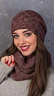 Женский вязаный комплект шапка и хомут в разных цветах