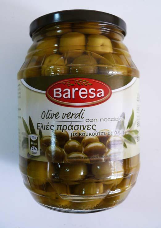 Оливки зеленые без косточки Baresa Olive, 950 гр.