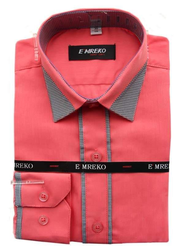Рубашка для мальчика Emreko  длинный рукав приталенная коралловая