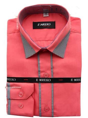 Рубашка для мальчика Emreko  длинный рукав приталенная коралловая, фото 2