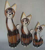 Набор статуэток кошек с белой манишкой (50, 40 и 30 см), коричневый