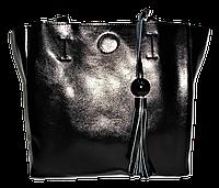Удобная женская сумочка из натуральной кожи черного цвета KKI-007690
