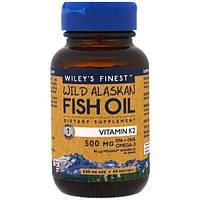 Wiley's Finest, Рыбий жир дикой рыбы Аляски, витамин K2, 60 желатиновых капсул с рыбьим жиром