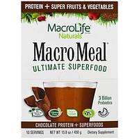 Macrolife Naturals, MacroMeal, лучшая суперпища, шоколад, 10 пакетов, по 1,6 унции (45 г) каждый