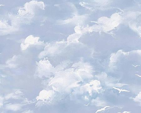 Обои виниловые, с белыми облаками и чайками 560414.