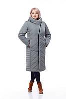 Стильное зимнее женское пальто с отделкой из кролика