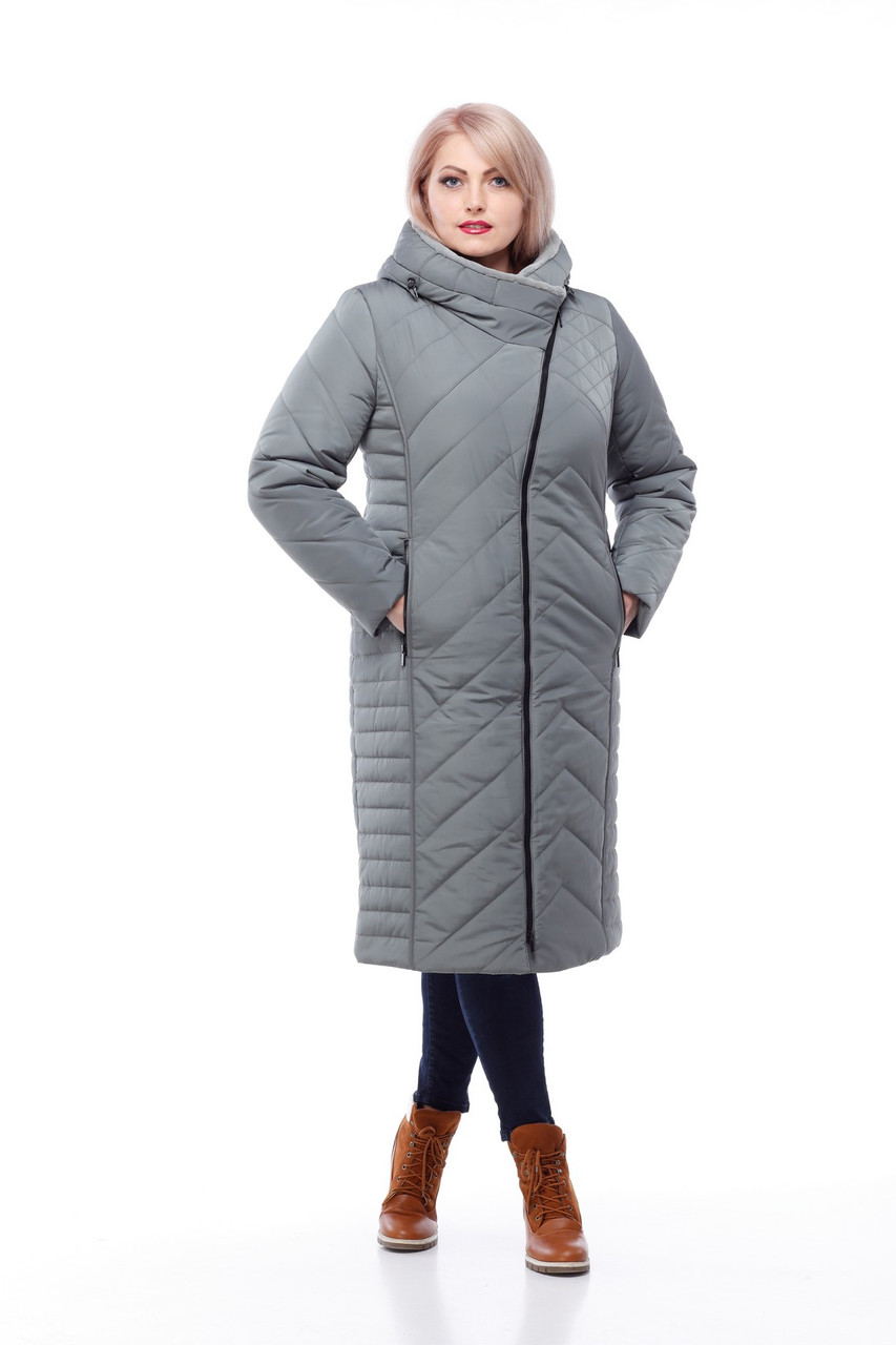 3204b12ac84 Стильное зимнее женское пальто с отделкой из кролика - Интернет-магазин