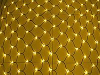 Новогодняя гирлянда сетка 240 LED на прозрачном проводе цвет желтый
