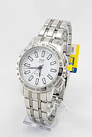 Мужские наручные часы (белый циферблат, серебристый ремешок)