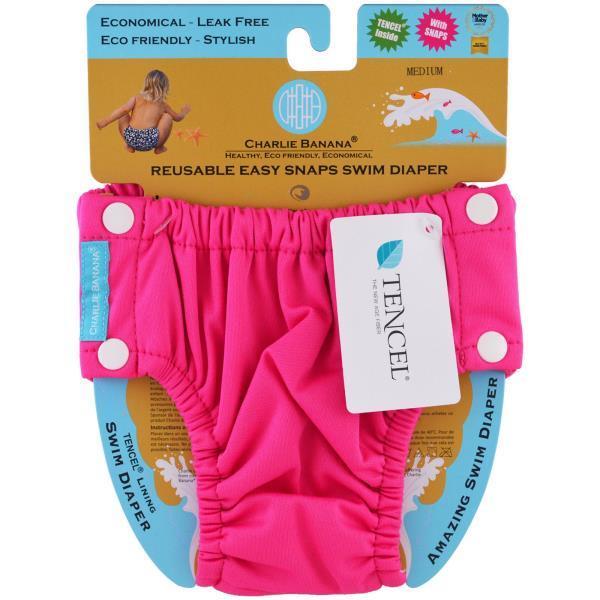 Charlie Banana, Многоразовые подгузники для плавания с простыми застежками,  ярко-розовые, средний c1db544f170