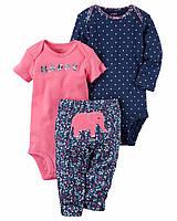 Комплект 3шт из 2х боди и штанишек для новорожденной для девочки Carters (США)
