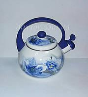 """Чайник эмалированный со свистком 2,2л """"Синяя орхидея'"""
