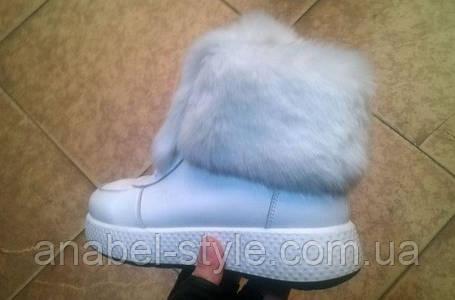 Ботинки зимние из натуральной кожи с опушкой из натурального меха на шнуровке белого цвета код 1208, фото 2