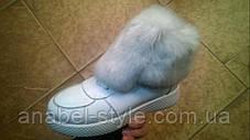 Черевики зимові з натуральної шкіри з опушкою з натурального хутра на шнурівці білого кольору код 1208, фото 2