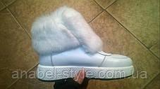 Ботинки зимние из натуральной кожи с опушкой из натурального меха на шнуровке белого цвета код 1208, фото 3
